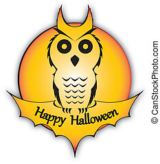 Holiday Halloween Owl - Illustraion of an owl silhouette...