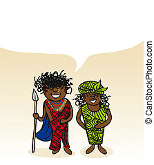 Kenyan cartoon couple social bubble - Kenyan man and woman...