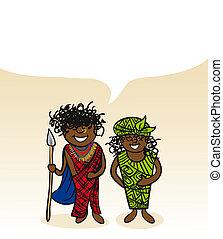 Kenyan cartoon couple social bubble - Kenyan man and woman...