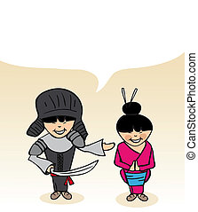 Japanese cartoon couple social speech bubble - Japanese man...