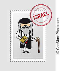 Jewish cartoon person postal stamp - Jewish priest cartoon...
