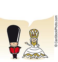 English cartoon couple social bubble
