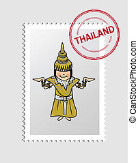 Thai cartoon person postal stamp - Thai woman cartoon with...