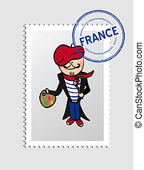 French cartoon person postal stamp - French person cartoon...