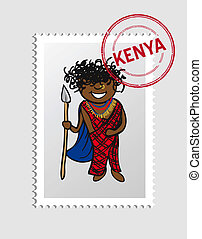 Kenyan cartoon person postal stamp - Kenyan Man cartoon with...