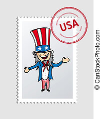 American cartoon person postal stamp - American Uncle Sam...