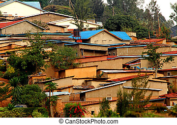 African houses on a hill