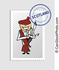 Scottish cartoon person postal stamp - Scottish man cartoon...