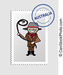 Australian cartoon person postal stamp - Australian Man...
