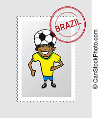 Brazilian cartoon person postal stamp - Brazilian man...