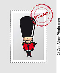 English cartoon person postal stamp - English Royal Guard...