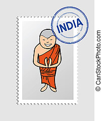 Hindu cartoon person postal stamp - Hindu Man cartoon with...