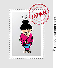 Japanese cartoon person postal stamp - Japanese Woman...