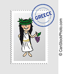 Greek cartoon person postal stamp - Greek woman cartoon with...