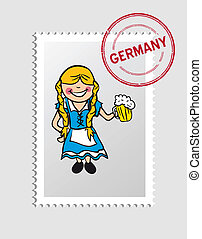 German cartoon person postal stamp - German Woman cartoon...