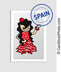 Spanish cartoon person postal stamp - Spanish woman cartoon...