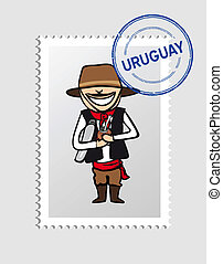Uruguayan cartoon person postal stamp - Uruguayan Man...