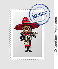 Mexican cartoon person postal stamp - Mexican man cartoon...