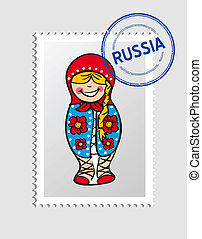 Russian cartoon person postal stamp - Russian Woman doll...