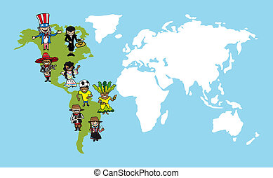 America people cartoons, world map diversity illustration -...