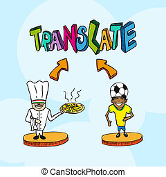 Translation concept italian portuguese people cartoon -...
