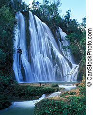 Salto Limon falls in rainforest of Dominican Republic