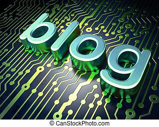 SEO web development concept: Blog on circuit board...
