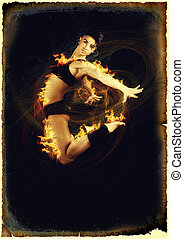 aerobics woman in flames - Jumping woman on black background...