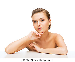 face of woman with clean perfect skin - beauty concept -...