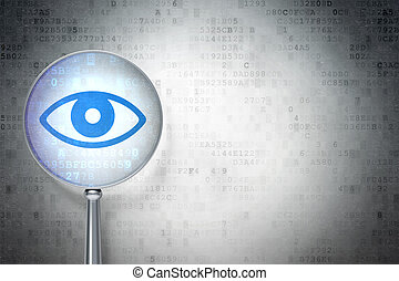 Education protection concept: magnifying optical glass with Eye icon on digital background, empty copyspace for card, text, advertising, 3d render