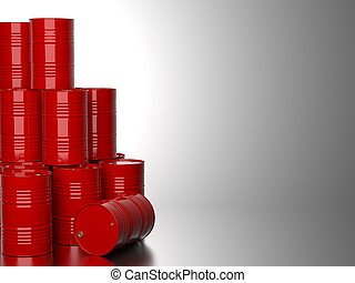 Red Barrels for Oil . - Bunch of Red Barrels for Oil on Gray...