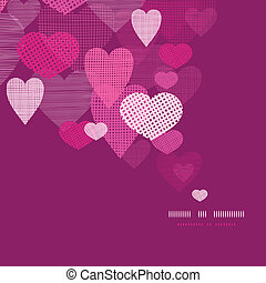Textured fabric hearts decor pattern background - vector...