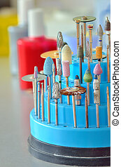 Closeup of dental technician's tools