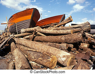 Fishing boats on woods
