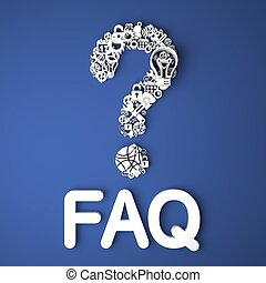 FAQ Concept. - FAQ Card Handmade from Paper Characters on...
