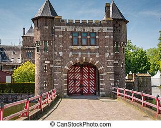 entrada, países bajos,  De,  haar, puerta, castillo