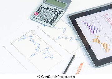 tablet pc with financial graph