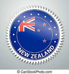 New Zealand flag label - Vector flag label series - New...