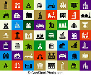 Silhouettes of city buildings