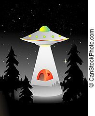 alien abduction - flying saucer abducting some campers in...