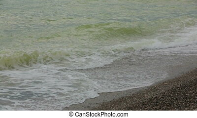 Ocean waves on a stormy day