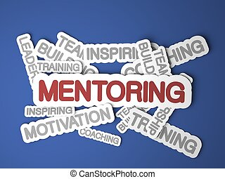 Mentoring Concept - Mentoring Concept on Blue Background 3D...