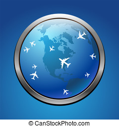 Air flight - Airplane symbol with USA vector design