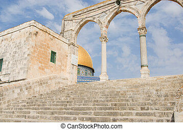 Stairway to mosque - Stairs leading to the Dome of the Rock...