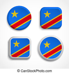Congo flag buttons, vector illustration