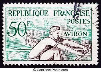 Postage stamp France 1953 Rowing, Water Sport - FRANCE -...