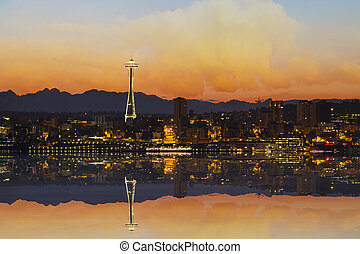 Seattle City Skyline at Sunrise - Seattle Washington...