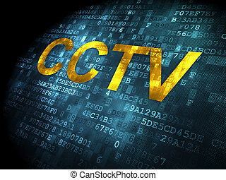Protection concept: CCTV on digital background - Protection...