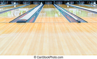 Bowling alley.With surface polished with wax beautifully.