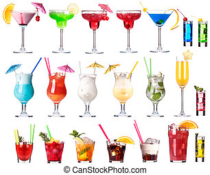 Set of alcoholic cocktails isolated on white background